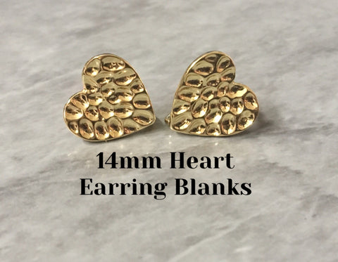 14mm gold heart post earring blanks, gold drop earring, gold stud earring, gold jewelry, gold dangle DIY earring making round