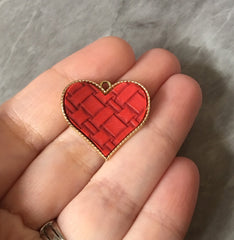 Red Quilted Heart laid in metal, pink heart charm, metal charm Valentines Day jewelry, holiday earrings