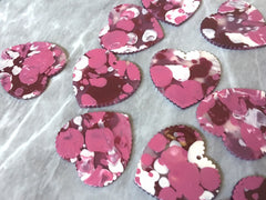Pink Red White Painted Heart, Valentines Day Painted Beads, scallop charm, acrylic heart beads, holiday earrings