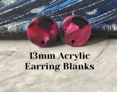 Cranberry mosaic 13mm confetti circle post earring blanks, drop earring stud earring, jewelry dangle DIY earring making pink magenta