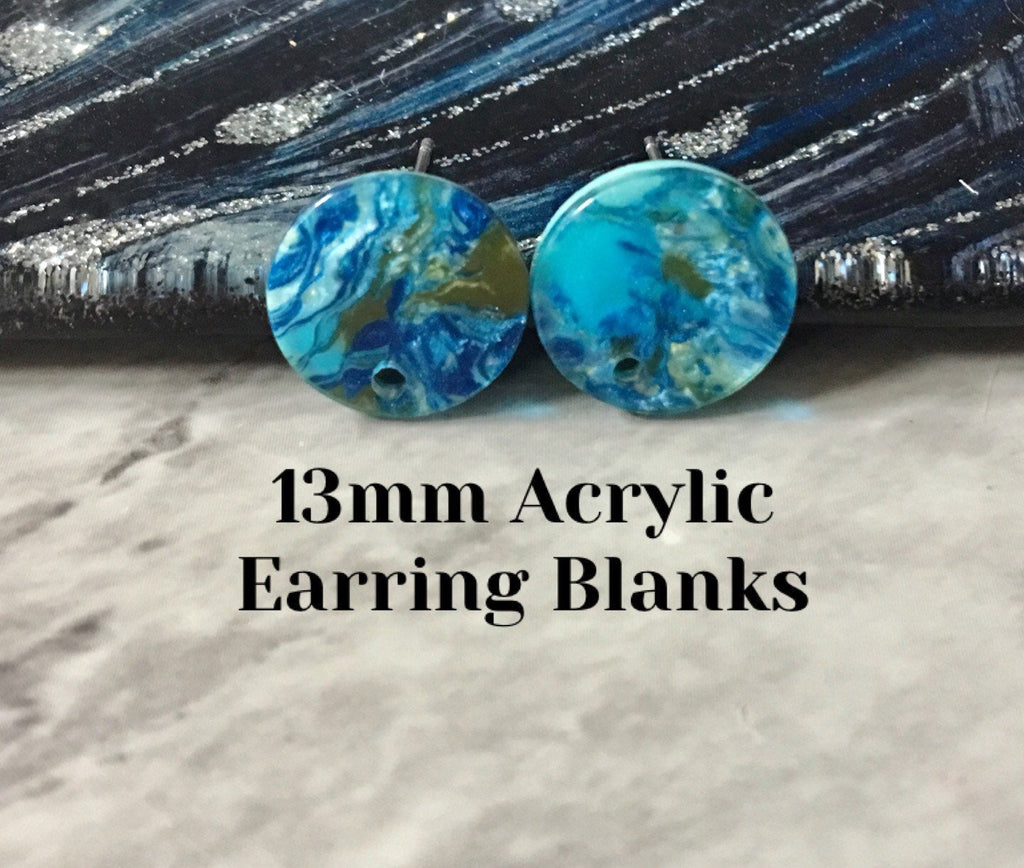 Blue Olive Green mosaic 13mm confetti circle post earring blanks, drop earring stud earring, jewelry dangle DIY earring making turquoise