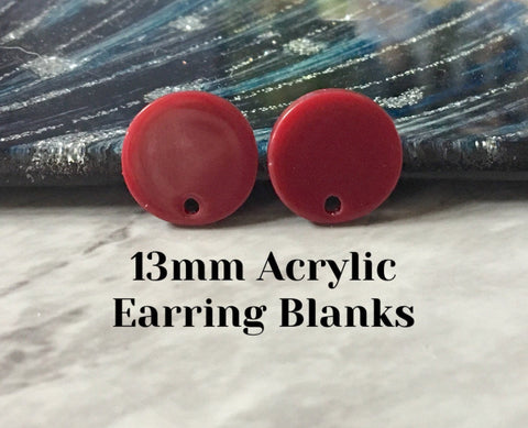 Cranberry red 13mm confetti circle post earring blanks, drop earring stud earring, jewelry dangle DIY earring making maroon red