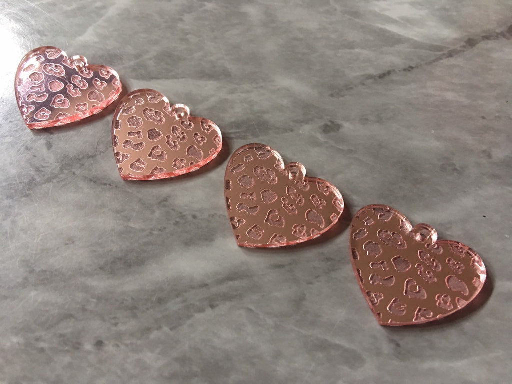 Leopard Print Hearts, laser etched cutout acrylic 30mm Earring Necklace pendant bead, one hole at top DIY blanks blush pink