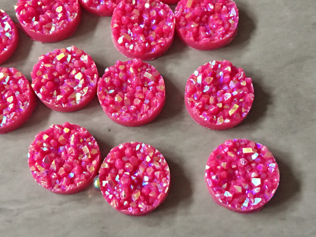12mm Druzy Cabochons, Hot Pink SPARKLE, jewelry making kit, earring set, diy jewelry, druzy studs, 12mm Druzy, cabochon, stud earrings, PINK