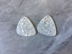 Silver Foil Confetti & Clear resin Acrylic Blanks Cutout, earring pendant jewelry making, 30mm blue 1 Hole earring blanks, drop earrings