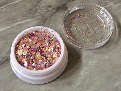 SALE Coral Holographic Glitter Container, Tin Foil paper jewelry diy crystal earring, 40mm plastic screw top container, blush resin making