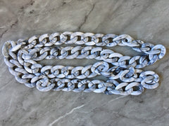 "XL Gray & White LINKED chain, 40"" mask chain chunky necklace or bracelet, lucite resin chain links jewelry making, plastic connector large"