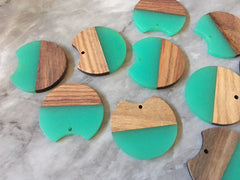 Wood Grain + Green resin Beads, round cutout acrylic 37mm Earring Necklace pendant bead, one hole at top DIY wooden blanks brown