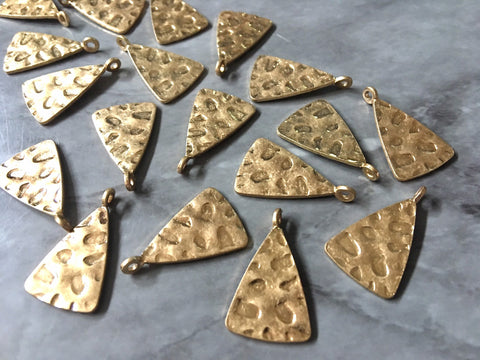 VINTAGE Hammered animal print metal earring Beads, 24mm triangle cutout Necklace pendant bead, one hole at top DIY blanks, gold metal blanks