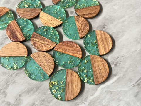 Wood Grain + gold foil green resin Beads, round cutout acrylic 29mm Earring Necklace pendant bead, one hole at top DIY wooden blanks