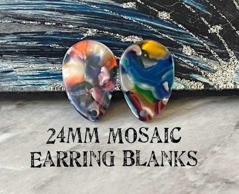 Rainbow 24mm Mosaic post earring blanks, colorful drop earring, silver or gold stud earrings statement jewelry, dangle DIY earring making