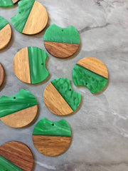 Wood Grain + creamy Green resin Beads, round cutout acrylic 37mm Earring Necklace pendant bead, one hole at top DIY wooden blanks brown