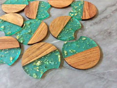 Wood Grain + Green gold foil resin Beads, round cutout acrylic 37mm Earring Necklace pendant bead, one hole at top DIY wooden blanks