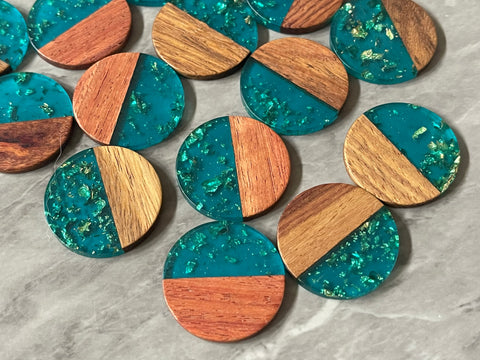 Wood Grain + Blue gold foil resin Beads, round cutout acrylic 29mm Earring Necklace pendant bead, one hole at top DIY wooden blanks
