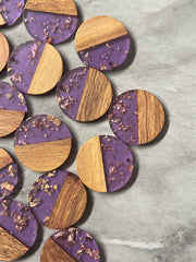 wood Grain + purple gold foil resin Beads, round cutout acrylic 29mm Earring Necklace pendant bead, one hole at top DIY wooden blanks