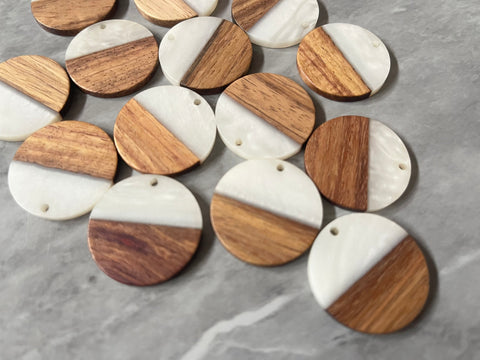 Wood Grain + creamy white resin Beads, round cutout acrylic 29mm Earring Necklace pendant bead, one hole at top DIY wooden blanks