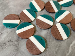 Wood Grain + Stripe resin Beads, round cutout acrylic 29mm Earring Necklace pendant bead, one hole top DIY wooden blanks teal cream circle