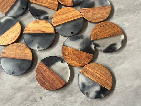 Wood Grain + creamy gray black resin Beads, round cutout acrylic 29mm Earring Necklace pendant bead, one hole at top DIY wooden blanks