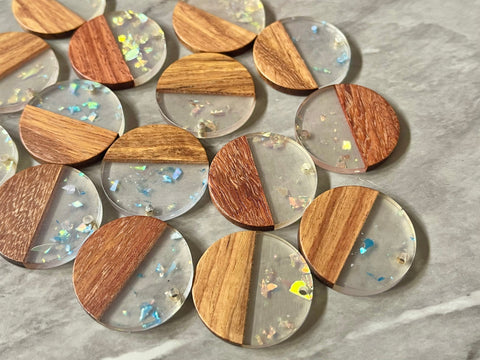 wood Grain + SHIMMER rainbow foil clear resin Beads, round cutout acrylic 29mm Earring Necklace pendant bead, one hole top DIY wooden blanks