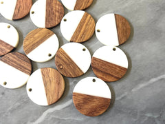 Wood Grain + white resin Beads, round cutout acrylic 25mm Earring Necklace pendant bead, one hole at top DIY wooden blanks