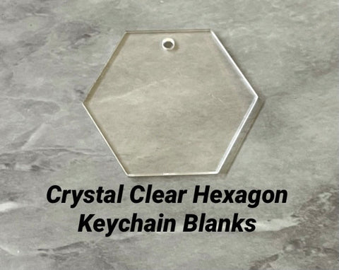 Clear Blanks, 2 Inch Hexagon w 1 Hole, Keychain blanks, acrylic blanks, monogram keychain, monogram gifts sign blanks