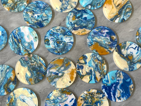 Gold & Blue Turquoise BEACH mosaic Resin Beads, circle cutout acrylic Earring Necklace pendant bead, one hole at top, jewelry acrylic DIY