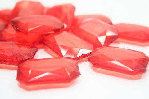 Ruby Red Large Translucent Beads - Faceted Nugget Bead - FLAT RATE SHIPPING 30mmx22mm - Swoon & Shimmer - 1