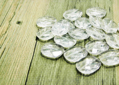 Large Translucent Beads - Faceted Rounded clear Nugget Bead - FLAT RATE SHIPPING 30mm x 25mm x 9mm - Swoon & Shimmer - 2