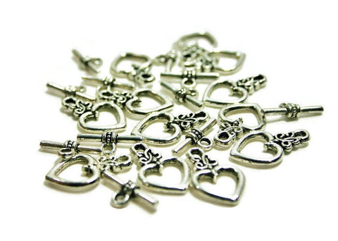 Heart Toggle Closures - Jewelry Making Connectors - Flat Rate Shipping - Ships FAST!