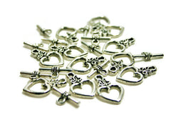 Heart Toggle Closures - Jewelry Making Connectors - Flat Rate Shipping - Ships FAST! - Swoon & Shimmer - 1