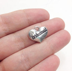 Bridesmaid Charm for bracelets, necklaces, wine charms, bouquet charms - silver heart with rhinestone - Swoon & Shimmer - 2