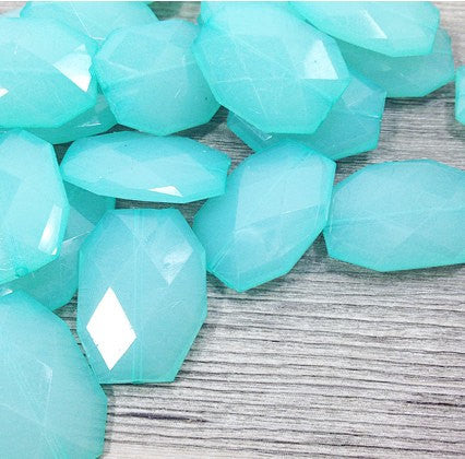 Robin's Egg Blue 35x24mm Faceted Acrylic Slab Beads - for jewelry or bangle making - Swoon & Shimmer - 1