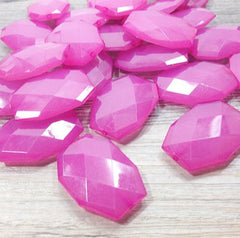 Large Pink Beads - 35x24mm slab nugget beads - acrylic jumbo craft supplies - Swoon & Shimmer - 2