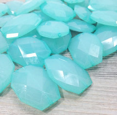Robin's Egg Blue 35x24mm Faceted Acrylic Slab Beads - for jewelry or bangle making - Swoon & Shimmer - 2