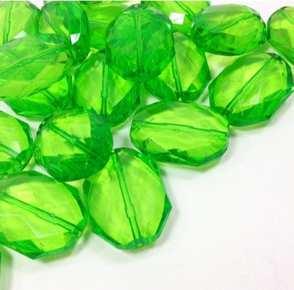 Lime Green Large Translucent Beads - Faceted Nugget Bead - FLAT RATE SHIPPING - Swoon & Shimmer - 1