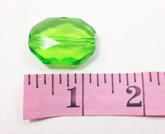 Lime Green Large Translucent Beads - Faceted Nugget Bead - FLAT RATE SHIPPING - Swoon & Shimmer - 2