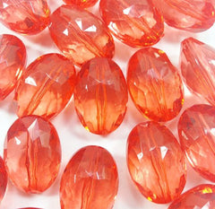 Red Large Translucent Beads - 25mm Faceted egg / nugget Bead - FLAT RATE SHIPPING - Swoon & Shimmer - 2