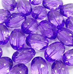 Violet purple Large Translucent Beads - 25mm Faceted egg / nugget Bead - FLAT RATE SHIPPING - Swoon & Shimmer - 3