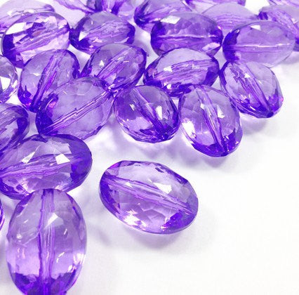 Violet purple Large Translucent Beads - 25mm Faceted egg / nugget Bead - FLAT RATE SHIPPING - Swoon & Shimmer - 1