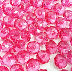 Waternelon Pink Translucent acrylic crystal faceted beads - great for jewelry making -bangles, wrap bracelets, necklaces, and more! - Swoon & Shimmer - 2
