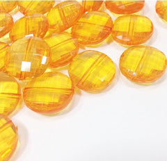 Orange / Marigold Large Translucent Beads - 21mm Faceted circle round Bead - FLAT RATE SHIPPING - Jewelry Making - Wire Bangles - Swoon & Shimmer - 1