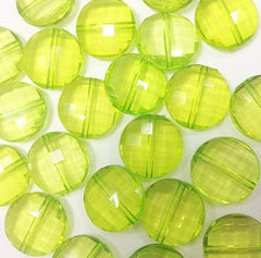 Key Lime Large Translucent Beads - 21mm Faceted circle round Bead - FLAT RATE SHIPPING - Jewelry Making - Wire Bangles - Swoon & Shimmer - 3