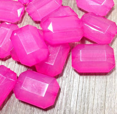 Bubblegum Pink Magenta Fuchsia  Large Translucent Beads - Faceted Nugget Bead - FLAT RATE SHIPPING 30mmx22mm - Swoon & Shimmer - 1