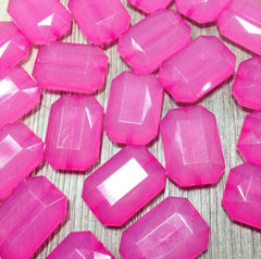 Bubblegum Pink Magenta Fuchsia  Large Translucent Beads - Faceted Nugget Bead - FLAT RATE SHIPPING 30mmx22mm - Swoon & Shimmer - 2