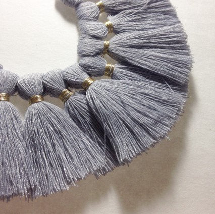 Light Gray with Gold Tassel for Jewelry Making - Necklaces, Bracelets, or Earrings! 2 Inch Size - Swoon & Shimmer - 1