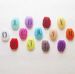 Monogram Beads in 16 Color Choices! Faceted, Gorgeous Beads - Pick your letter and color! - 35x24mm - Swoon & Shimmer - 3