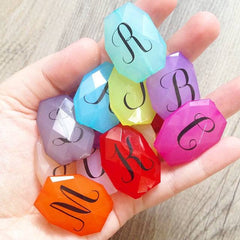 Monogram Beads in 16 Color Choices! Faceted, Gorgeous Beads - Pick your letter and color! - 35x24mm - Swoon & Shimmer - 2