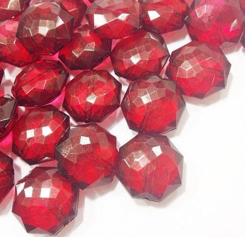 Marsala Translucent Beads - 21mm Faceted octagon round Bead - FLAT RATE SHIPPING - Jewelry Making - Wire Bangles {Sangria Maroon Garnet}