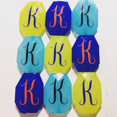Monogram Beads in 16 Color Choices! Faceted, Gorgeous Beads - Pick your letter and color! - 35x24mm - Swoon & Shimmer - 1