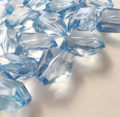 26x20mm Chunky ICE BLUE faceted acrylic nugget beads - Swoon & Shimmer - 1